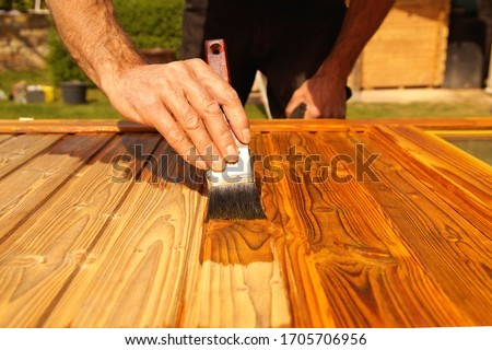 Painting woodwork outside in spring. Close-up of Male hand varnishes a door with a brush. Concept of renovation works, Carpentry details with woodwork and handyman. liquid wood preservative stain  #1705706956