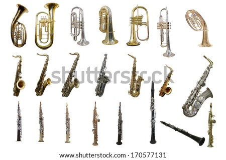 The image of wind instruments isolated under a white background Royalty-Free Stock Photo #170577131