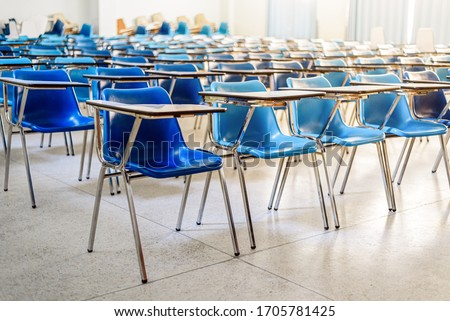 Interior of an empty school classroom , Quarantine during coronavirus covid-19 pandemic outbreak concept Royalty-Free Stock Photo #1705781425