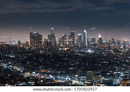 Aerial night view of financial district skyline in downtown Los Angeles; California Royalty-Free Stock Photo #1705822927