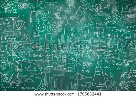 School chalk board is painted with different formulas and signs from the school curriculum. A green blackboard is drawn in chalk as a background. The concept of knowledge and learning. long banner. #1705852441