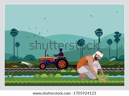 illustration of Indian agriculture with indian farmer Royalty-Free Stock Photo #1705924123