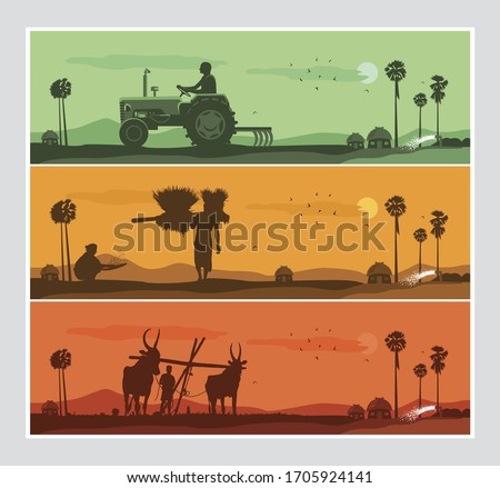 illustration of Indian agriculture with indian farmer Royalty-Free Stock Photo #1705924141