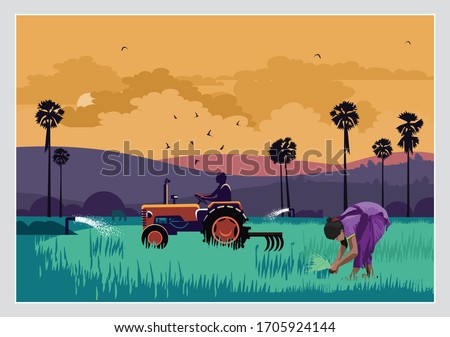 illustration of Indian agriculture with indian farmer Royalty-Free Stock Photo #1705924144