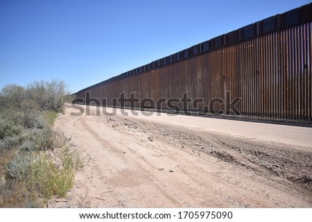 Construction of the border wall along the US/Mexico international border (Arizona, USA)