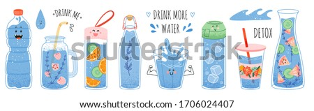 Concept drink more water, drinking water in a thermos and plastic mug, glass bottle. Vector set of various bottles, glass, flask in hand drawn style, correct daily habits, morning rituals. Zero waste #1706024407