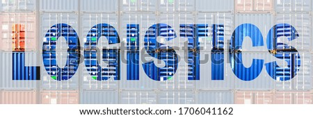 logistics banner of multiexposure letter of logistics overlay with staked containers background, headline banner for logistics industrial
