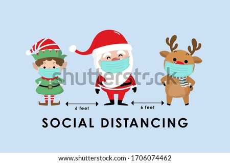 COVID-19 and social distancing infographic with cute Christmas cartoon character. Santa Claus, little elf and reindeer with surgical mask in flat style. Corona virus protection. -Vector #1706074462