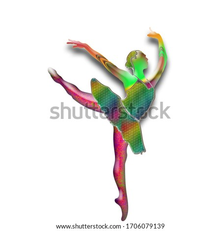 Silhouette of dance performer in colourful fills against a white background. #1706079139