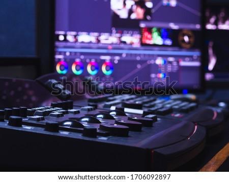 Color grading controller machine in color grading room studio lab for edit video colortone