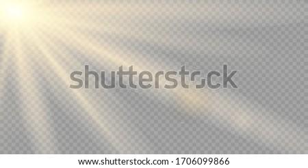 Yellow warm light effect, sun rays, beams on transparent background. Vector illustration. #1706099866