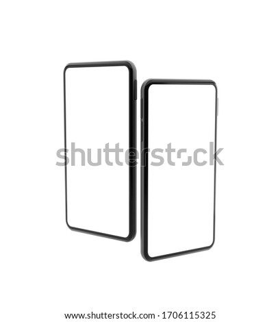 Realistic mock-up smart phone with blank screen 3D rendering  isolated on white background 2 position . clipping path