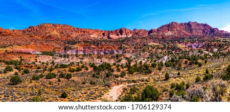 Red rock canyon mountains panorama. Panorama of red rock canyon desert. Red rock canyon mountains. Red rock canyon mountains panoramic landscape #1706129374