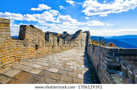 Chinese great wall pathway view. Great Wall way. Chinese Great Wall. Chinese Great Wall panorama #1706129392
