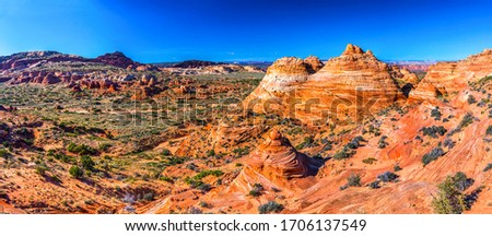 Red rock canyon desert panorama. Mountain red rock canyon desert panorama. Panorama of red rock canyon mountains. Red rock canyon panoramic landscape #1706137549