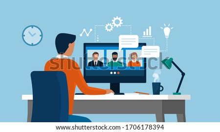Man having a conference call with his business team online, telecommuting, remote work and business communications concept #1706178394