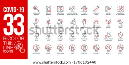 Prevention and symptoms Coronavirus Covid 19 line icons set isolated on white. Perfect outline health medicine symbols pandemic banner. Quality design elements virus treatment with editable Stroke #1706192440