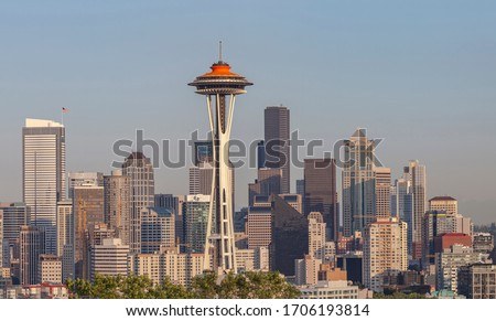 Seattle skyline panorama at sunset Washington state.