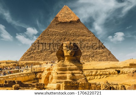 Egypt. Egyptian sphinx pyramid background. Cairo. Giza. Travel background. Architectural monument. The tombs of the pharaohs. Vacation holidays background wallpaper #1706220721