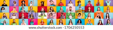 Photo collage of group of glad cheerful excited astonished funky scared surprised people person youngsters children having bright facial expressions isolated over multicolored background #1706250553