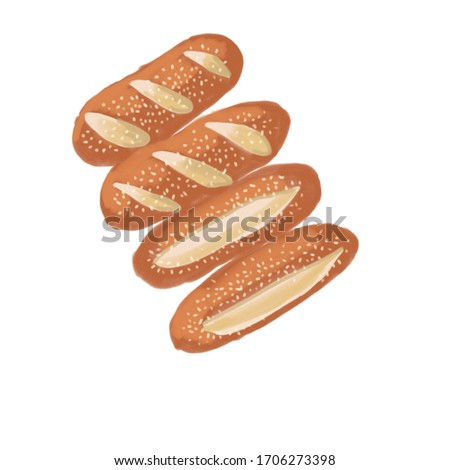Sesame seeds bread. Fresh artisan bread. Illustration of breads. Hand drawn sketch style of bread and bakery product. Hand drawn illustration isolated on white background