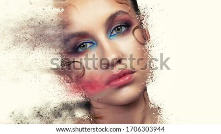 High Fashion model make up. Beauty makeup artist ideas. Colorful lips, eyes, eyeshadows. Beautiful women parts of face. Vivid bright make-up, lipstick. #1706303944