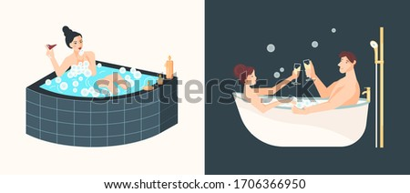 People sits in bathtub, and taking a bath in home spa. Flat Art Rastered Copy