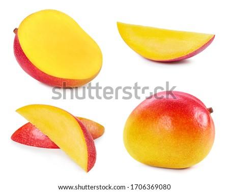 Mango close up on white background. Collection mango. Fresh organic mango #1706369080