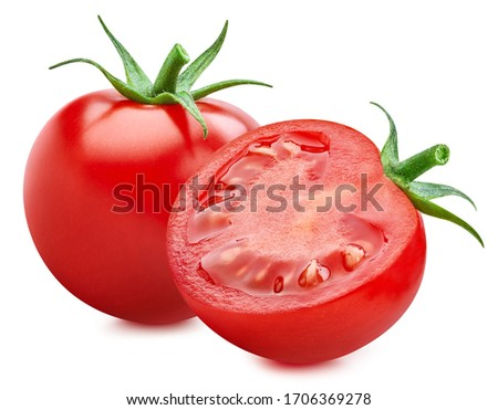 Red tomato half isolated on white background. Tomato clipping path. Tomato vegetable #1706369278