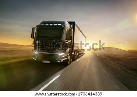 Truck driving on a country road at sunset (3D Rendering) #1706414389