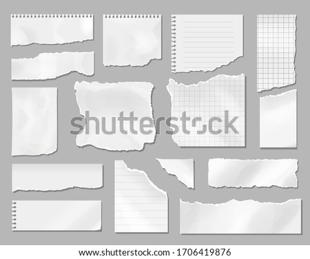 Paper different scraps set, Ripped page piece. Realistic torn note paper page, Vector illustration Royalty-Free Stock Photo #1706419876