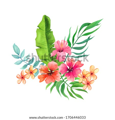 Summer time. Tropical flowers and leaves bouquet. Hand drawn watercolor elements isolated on white background