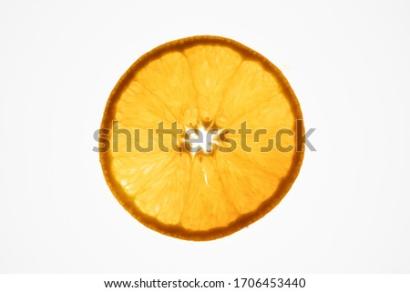 a beautiful orange slice against a bright white background