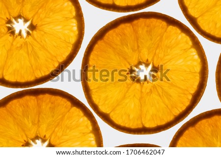 an interesting pattern close up photograph of transparent orange slices against a bright white background