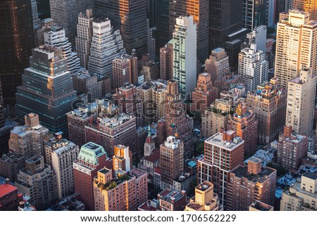 Manhattan buildings seen from above, population density concept, New York City, United States of America. Royalty-Free Stock Photo #1706562229