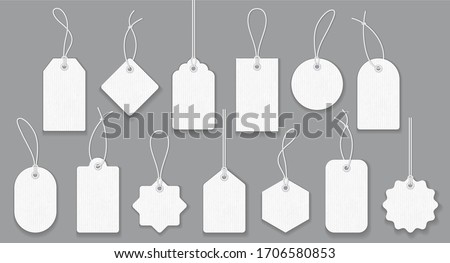 Blank white paper price tags or gift tags in different shapes. Set of labels with cord. #1706580853