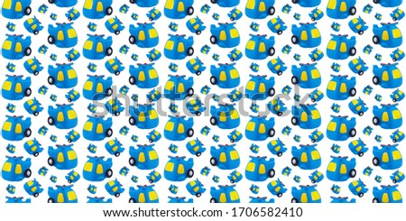 seamless pattern of rubber toy blue helicopter on white