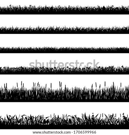 Grass border silhouettes. Black grass silhouettes, natural environment herb borders, grass panorama. Landscape lawn elements isolated symbols set. Illustration grass border, plant summer line #1706599966