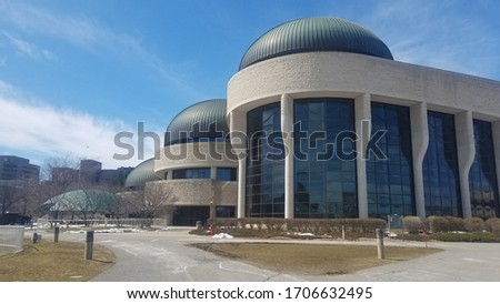 OTTAWA, CANADA - April 10, 2019: View at the Canadian Children's Museum building without of people in park zone in front of it. #1706632495