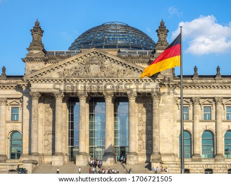 Reichstag / Parliament Building has lived all its important days with the nation and is currently used as a parliament building. Berlin, Germany 19 July 2016 #1706721505
