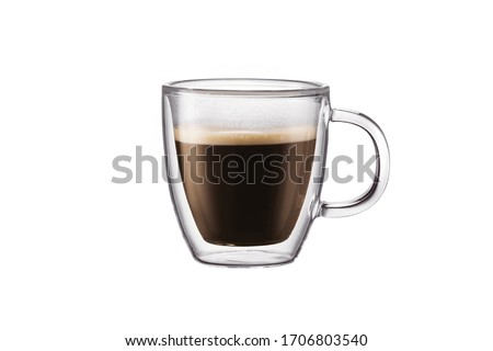 Transparent double bottom cup and coffee isolated on white background #1706803540