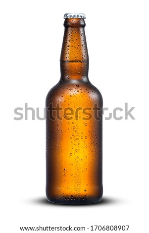 500ml brown beer bottle with drops isolated on a white background with work path Royalty-Free Stock Photo #1706808907