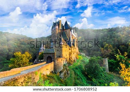 Iconic castle Burg Etz over sunset. Medieval monuments of Germany #1706808952