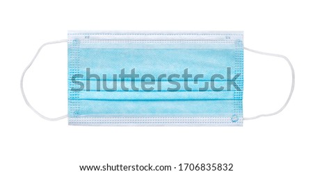 Blue medical face mask isolated on white. Flat lay. Clipping path included. Royalty-Free Stock Photo #1706835832
