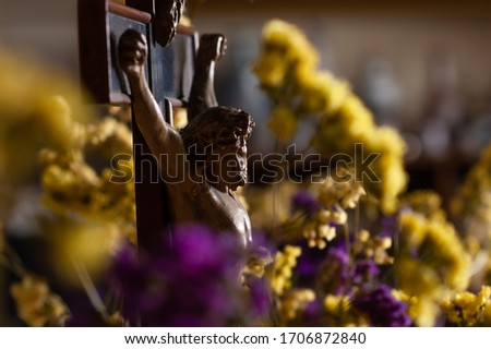 Photo of a statue of Jesus Christ with flowers around him.