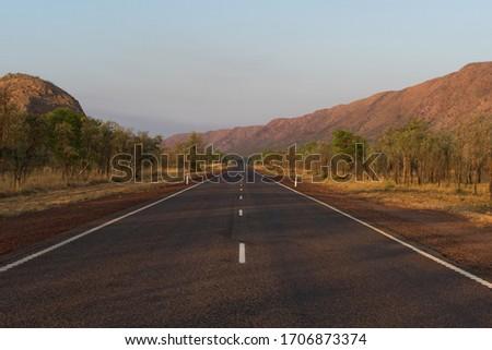 Sunrise on Route 1 through Western Australia.