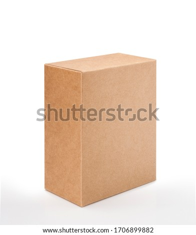 Brown cardboard box isolated on white background with clipping path. Suitable for food, cosmetic or medical packaging. #1706899882