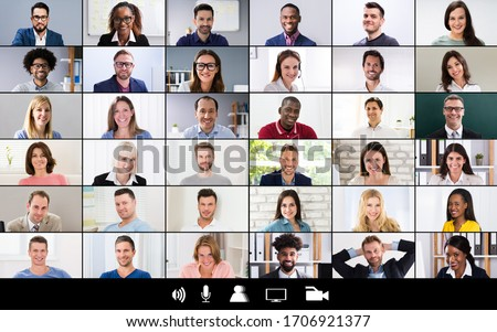 Group Corporate Video Conference Computer Monitor Screen Royalty-Free Stock Photo #1706921377