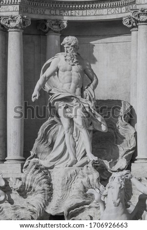 Rome, the famous Trevi fountain, sculptural fragments-the figure of the Ocean (or Neptune), the ruler of the water element