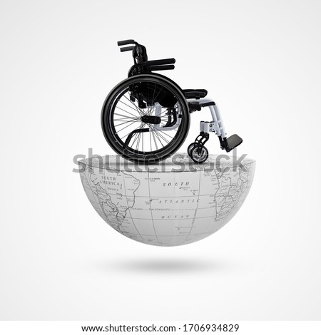 wheelchair on Earth, world day of mobility and accessibility, International Day of Disabilities, December 3, World Disability Day, Disability Day, accessibility, mobility, 30 april, awareness Royalty-Free Stock Photo #1706934829
